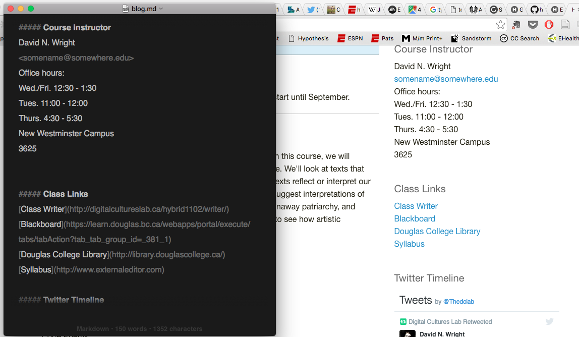 text editor and website side by side